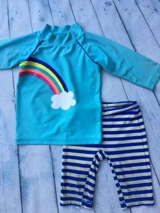 Mini Boden rainbow surf suit sun protection set age 2-3